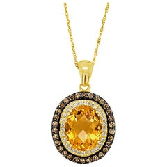 Le Vian Chocolatier Pendant Citrine, Chocolate/Vanilla Diamonds 14K Honey Gold