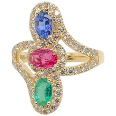 Le Vian Creme Brulee Ruby Sapphire Emerald Yellow Gold Ring