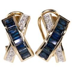 Le Vian Diamond and Sapphire Cross Huggie Earrings in Yellow Gold