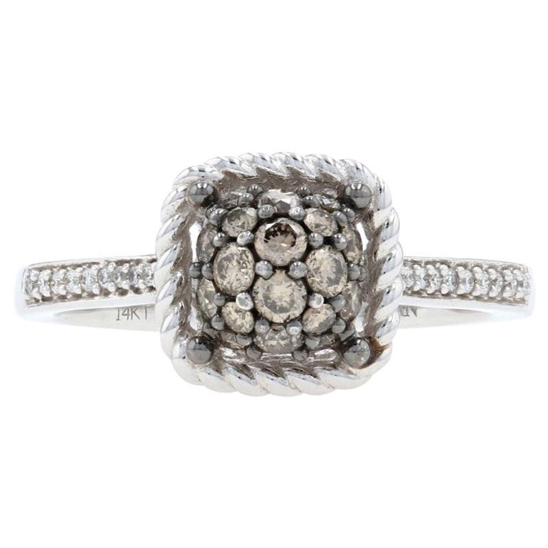 Le Vian Diamond Cluster Ring White Gold, 14k Round Cut .46ctw