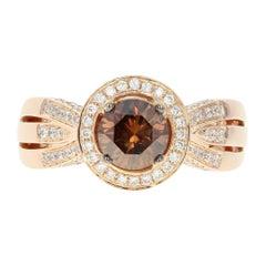 Le Vian Diamond Halo Ring, 18 Karat Rose Gold Round Cut 1.86 Carat