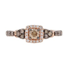 Le Vian Diamond Halo Ring Rose Gold, 14k Round Brilliant Cut .50ctw Engagement