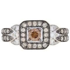 Le Vian Diamond Halo Ring White Gold, 14k Round Brilliant Cut 1.00ctw Chocolate