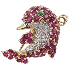 Le Vian Dolphin Pendant Brooch with Diamond and Ruby Set in 18 Karat Yellow Gold