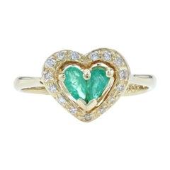 Le Vian Emerald & Diamond Halo Heart Ring Yellow Gold, 18k Pear Cut .50ctw