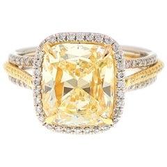 Le Vian Fancy Yellow Cushion Diamond Ring Platinum and 18 Karat Yellow Gold