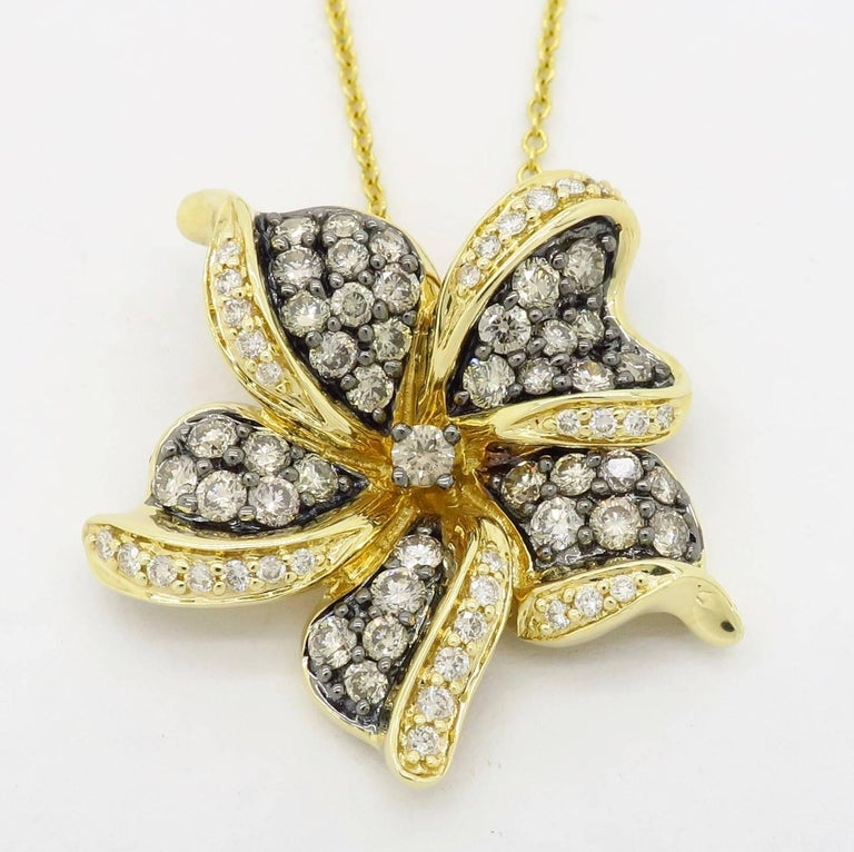 Le Vian Flower Diamond Necklace In Excellent Condition For Sale In Webster, NY