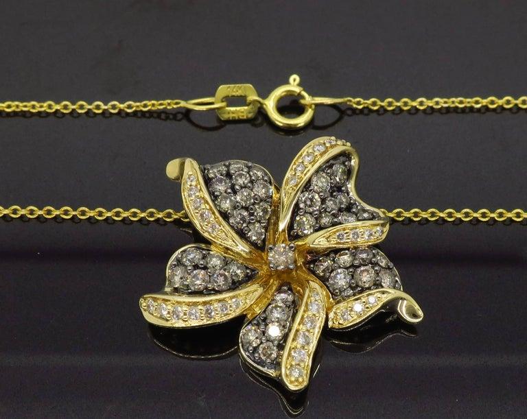 Women's or Men's Le Vian Flower Diamond Necklace For Sale
