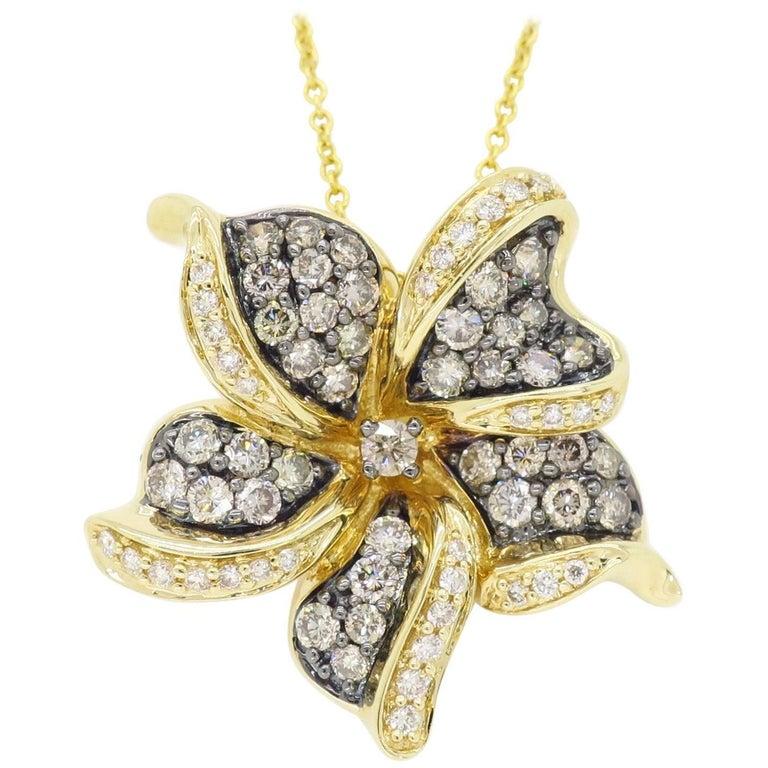 Le Vian Flower Diamond Necklace For Sale