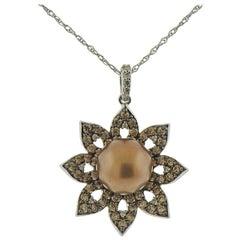 Le Vian LeVian Gold Fancy Diamond Chocolate Pearl Pendant Necklace