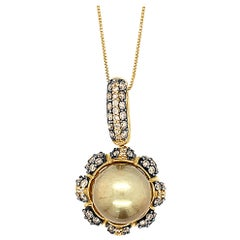 "LeVian 18K Yellow Gold Golden Pearl Brown Champagne Diamond 18"" Pendant Necklace"