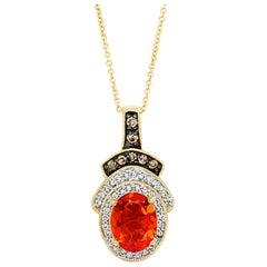 Le Vian Pendant, Fire Opal, Chocolate/Vanilla Diamonds 14 Karat Honey Gold