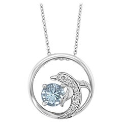 Le Vian Pendant, Sea Blue Aquamarine Vanilla Diamonds 14 Karat Vanilla Gold