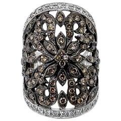 Le Vian Red Carpet Ring, Chocolate/Vanilla Diamonds, 14 Karat Vanilla Gold