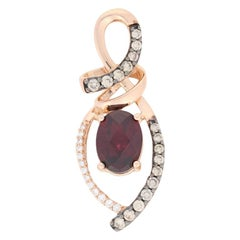 Le Vian Rhodolite Garnet and Diamond Pendant Rose Gold, 14k Oval Cut 1.65 Carat