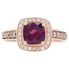 Le Vian Rhodolite Garnet & Diamond Halo Ring Rose Gold, 14k Cushion Cut 2.05ctw