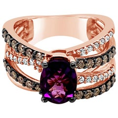 Le Vian Ring Amethyst Chocolate Diamonds Vanilla Diamonds 14 Karat Gold