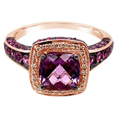 Le Vian Ring Amethyst Pink Sapphire Vanilla Diamonds 14 Karat Strawberry Gold