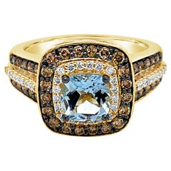 Le Vian Ring Aquamarine Chocolate Diamonds Vanilla Diamonds 14 Karat Honey Gold