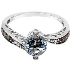 Le Vian Ring Aquamarine White Diamonds Chocolate Diamonds 14 Karat Vanilla Gold