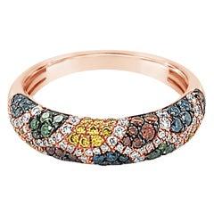 Le Vian 14K Rose Gold Domed Pavé Multi-Hued Fancy Color Diamond Band Ring