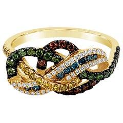 Le Vian Ring Featuring Blue/Green/White/Fancy Diamonds Set in 14k Honey Gold
