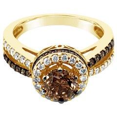 LeVian 14K Yellow Gold White & Chocolate Brown Diamond Halo Cocktail Ring