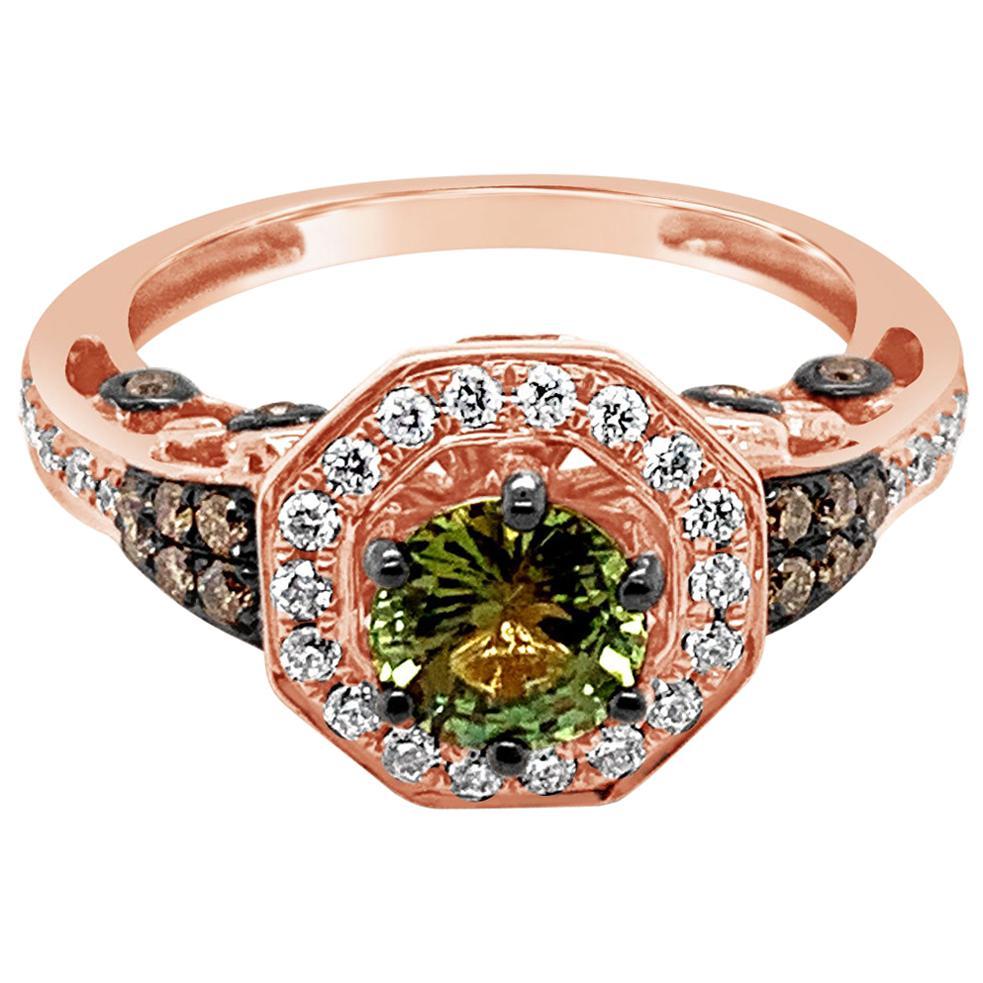 Le Vian Ring Green Sapphire Chocolate Diamonds Vanilla Diamonds 14K Rose Gold