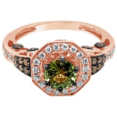 Le Vian Ring Green Sapphire Chocolate Diamonds Vanilla Diamonds 14K Rose Gold
