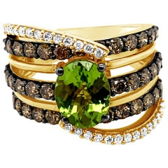 Le Vian Ring Peridot Chocolate Diamonds Vanilla Diamonds 14 Karat Honey Gold