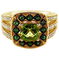 Le Vian Ring Peridot Tsavorite Vanilla Diamonds 14 Karat Green Gold