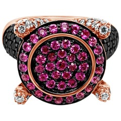 Le Vian Ring Pink Sapphire Black Diamonds Vanilla Diamonds 14 Karat Rose Gold
