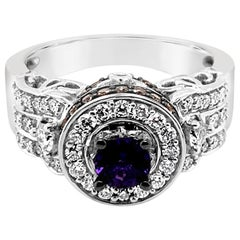 Le Vian Ring Purple Sapphire Vanilla and Chocolate Diamonds 14 Karat White Gold