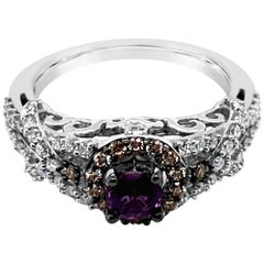 Le Vian Ring Purple Sapphire Vanilla Diamonds Chocolate Diamonds 14 Karat Gold