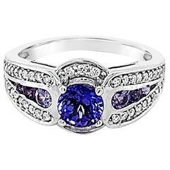 Le Vian 14K White Gold, Blue-Purple Tanzanite Gemstone Round Diamond Halo Ring