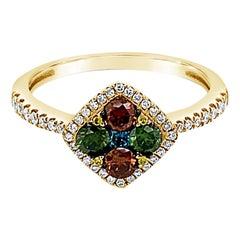 Le Vian Ring, Yellow/Green/White/Fancy Diamonds Set in 14 Karat Honey Gold