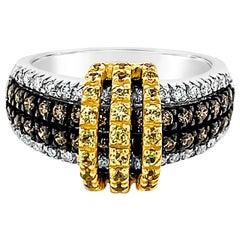 Le Vian Ring, Yellow Sapphire, Brown and White Diamonds, 14 Karat Two-Tone Gold