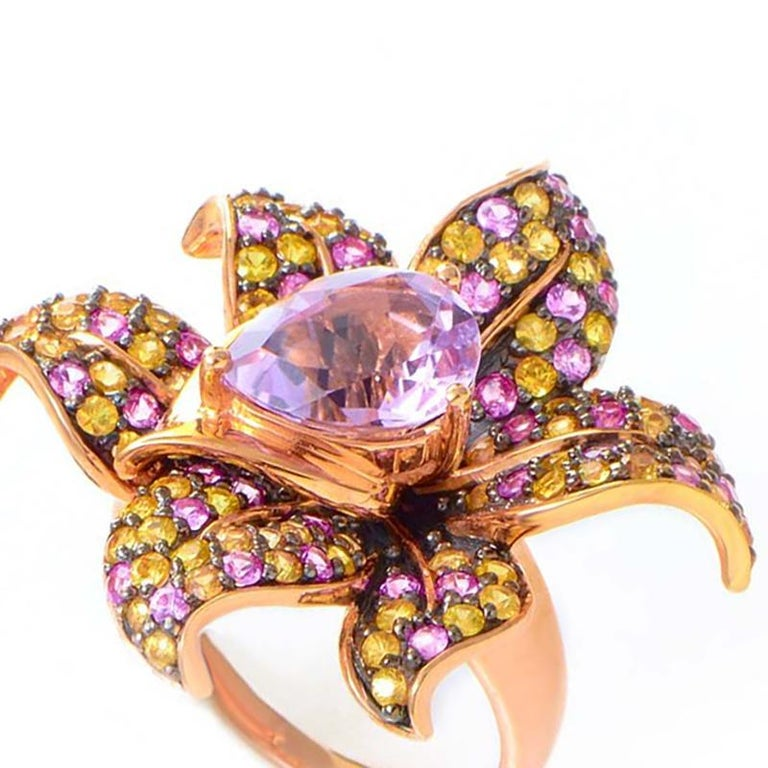 Le Vian Sapphire and Kunzite Rose Gold Flower Ring In New Condition For Sale In Southampton, PA