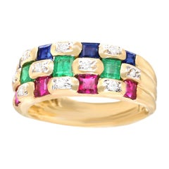 Le Vian Sapphire Ruby Emerald and Diamond set Ring