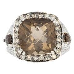 Le Vian Smoky Quartz and Diamond Halo Ring, 14 Karat Gold Checkerboard Cushion
