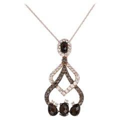 Le Vian Smoky Quartz and White Topaz Pendant Necklace 14 Karat Rose Gold
