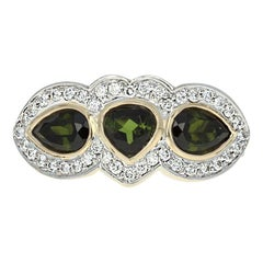 Le Vian Tourmaline & Diamond Ring, 14k Gold Three-Stone with Accents 2.03 Carat