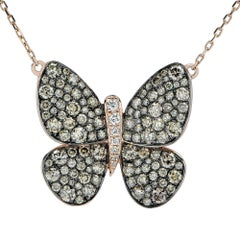 Le Vian White and Brown Diamond Butterfly Rose Gold Necklace