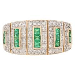 Le Vian Yellow Gold Emerald & Diamond Ring, 14k Square Cut .83ctw