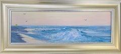 Twilight on the Beach, original contemporary marine landscape oil painting