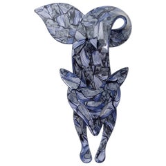 Lea Stein 1970s Blue Mosaic Brooch
