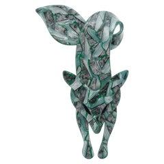 Lea Stein 1970s Green Mosaic Brooch