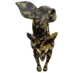 Lea Stein 1970s Yellow Tortoiseshell Brooch