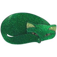 Lea Stein Green Sparkly Mistigri Cat Brooch