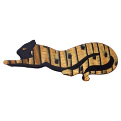 Lea Stein Iridescent Gold and Black Panther Brooch